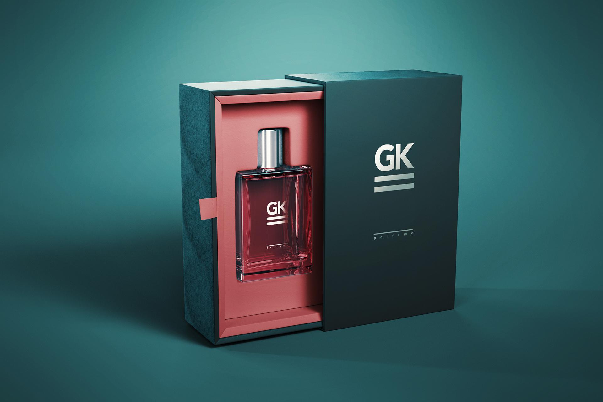 高档品牌  高端高档香水包装盒玻璃瓶子智能贴图样机展示Perfume Mock-up