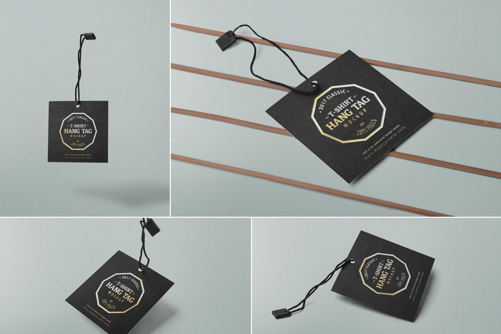 黑金精致标签卡片设计样机多场景应用Square Label Tag Mockups