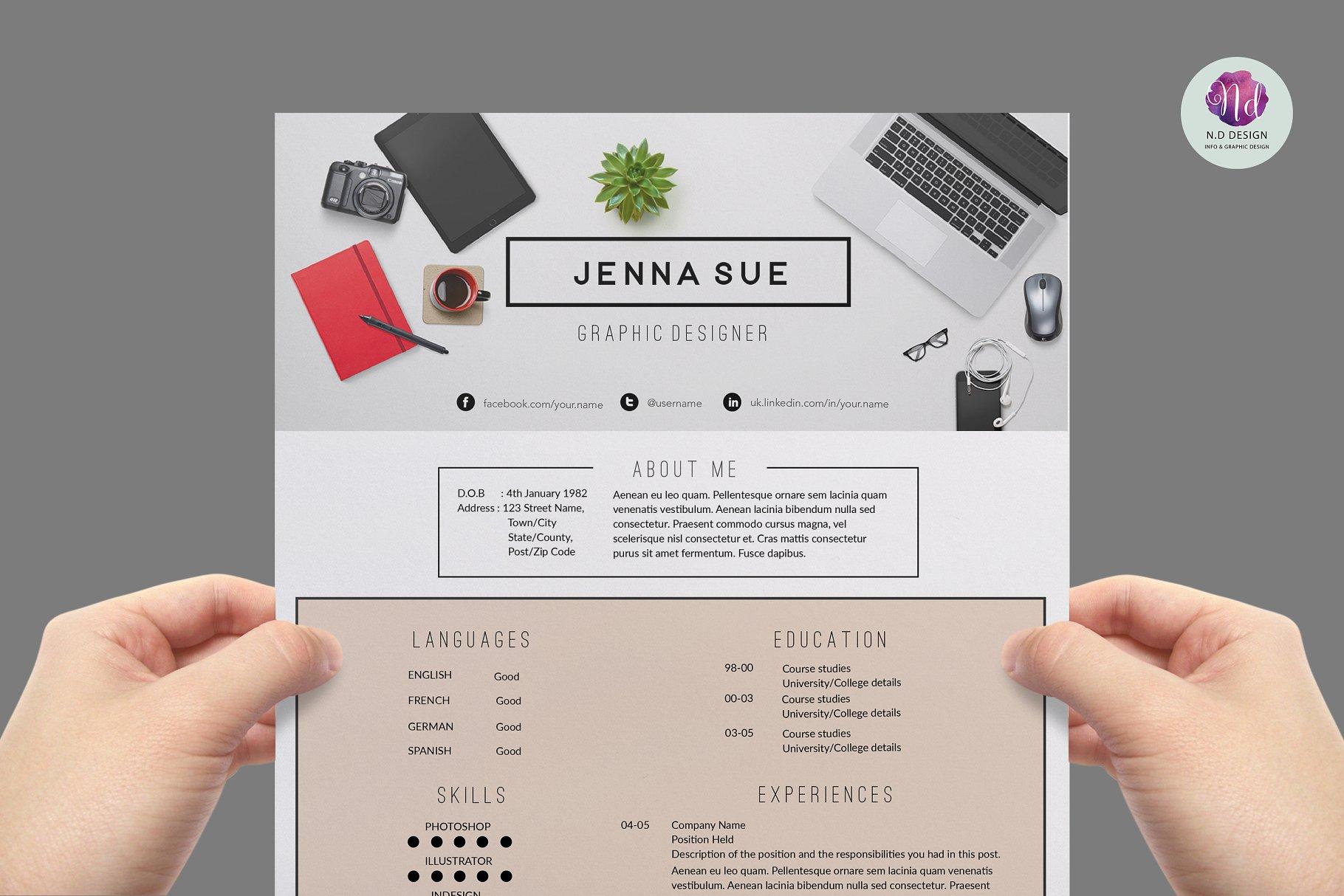 实用主义风格简历模板 Modern CV template
