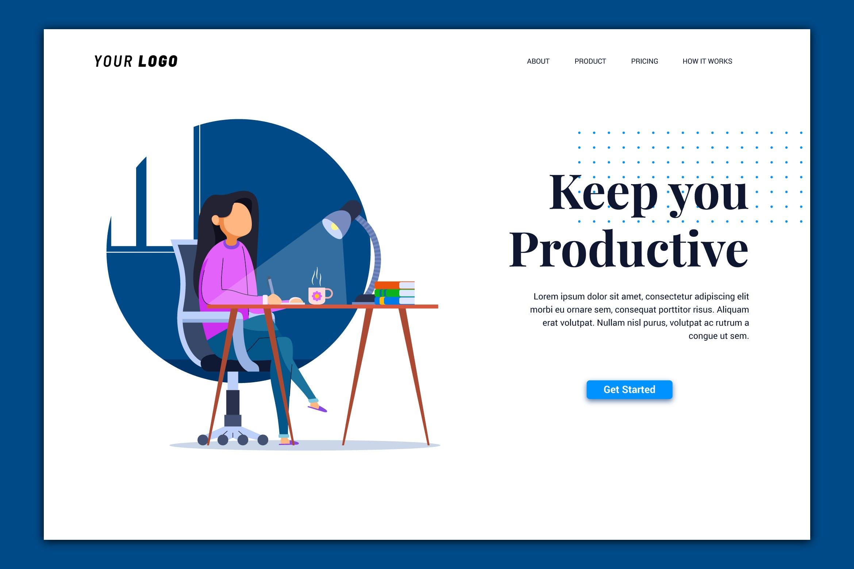 插画风格WEB端登录页 Productive - Landing Page