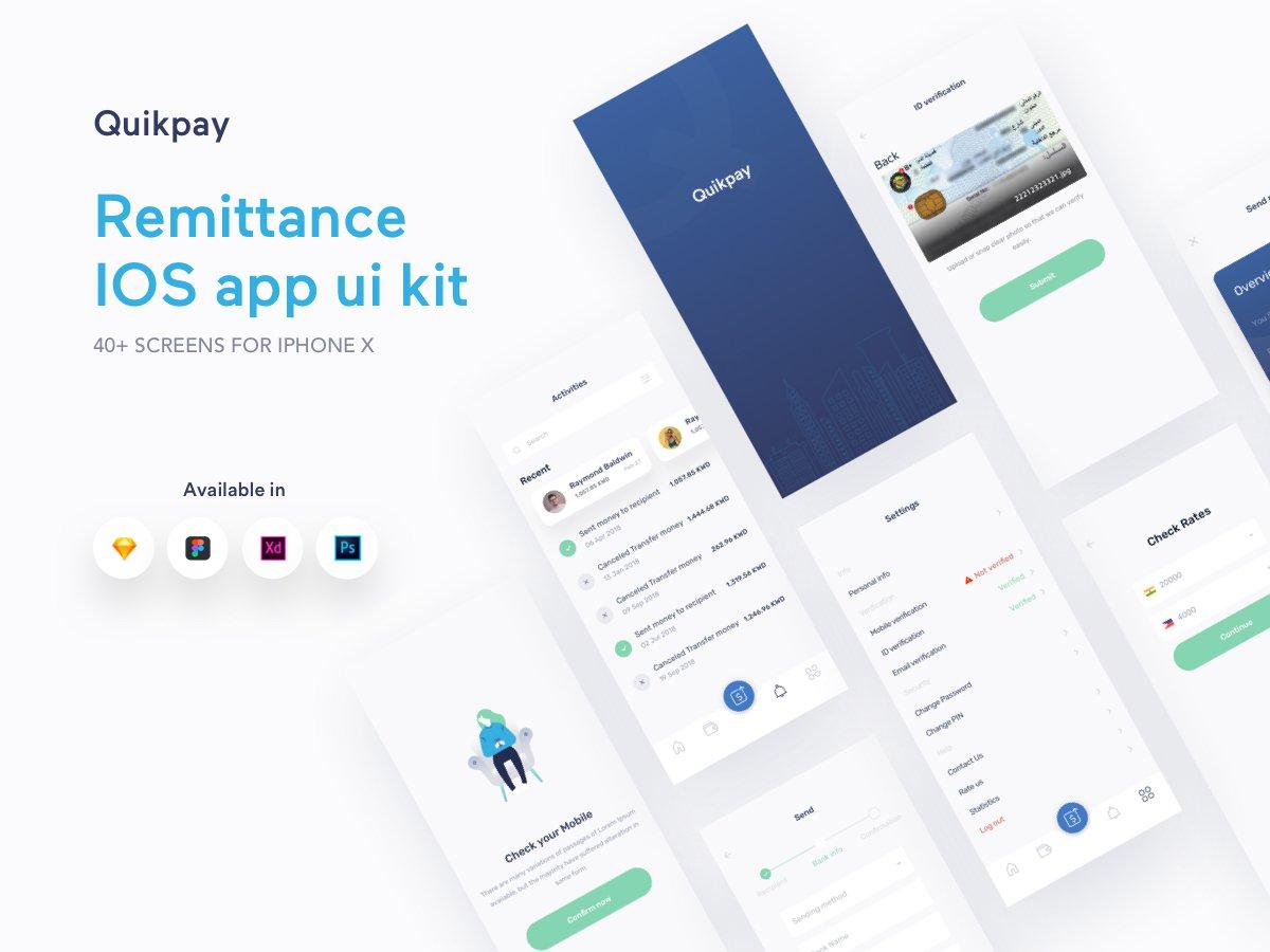 钱包类应用界面UIkit套件quikpayremittanceapp