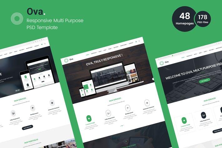 扁平化绿色WEB端办公网站模板 Ova – Multi-purpose Business PSD Template