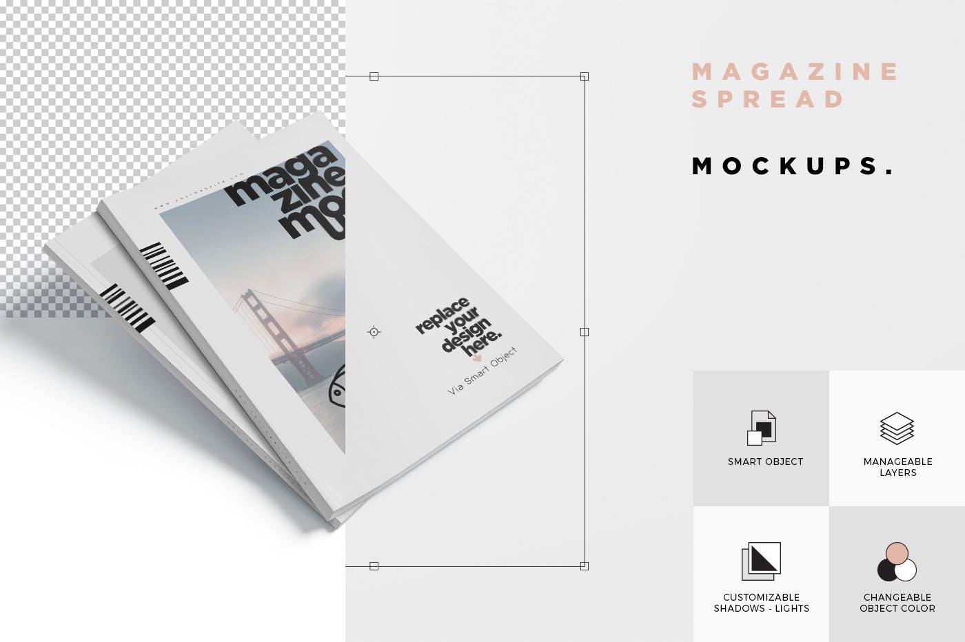 时尚杂志智能贴图样机素材  模板样机 Magazine Spread Mockups插图(4)