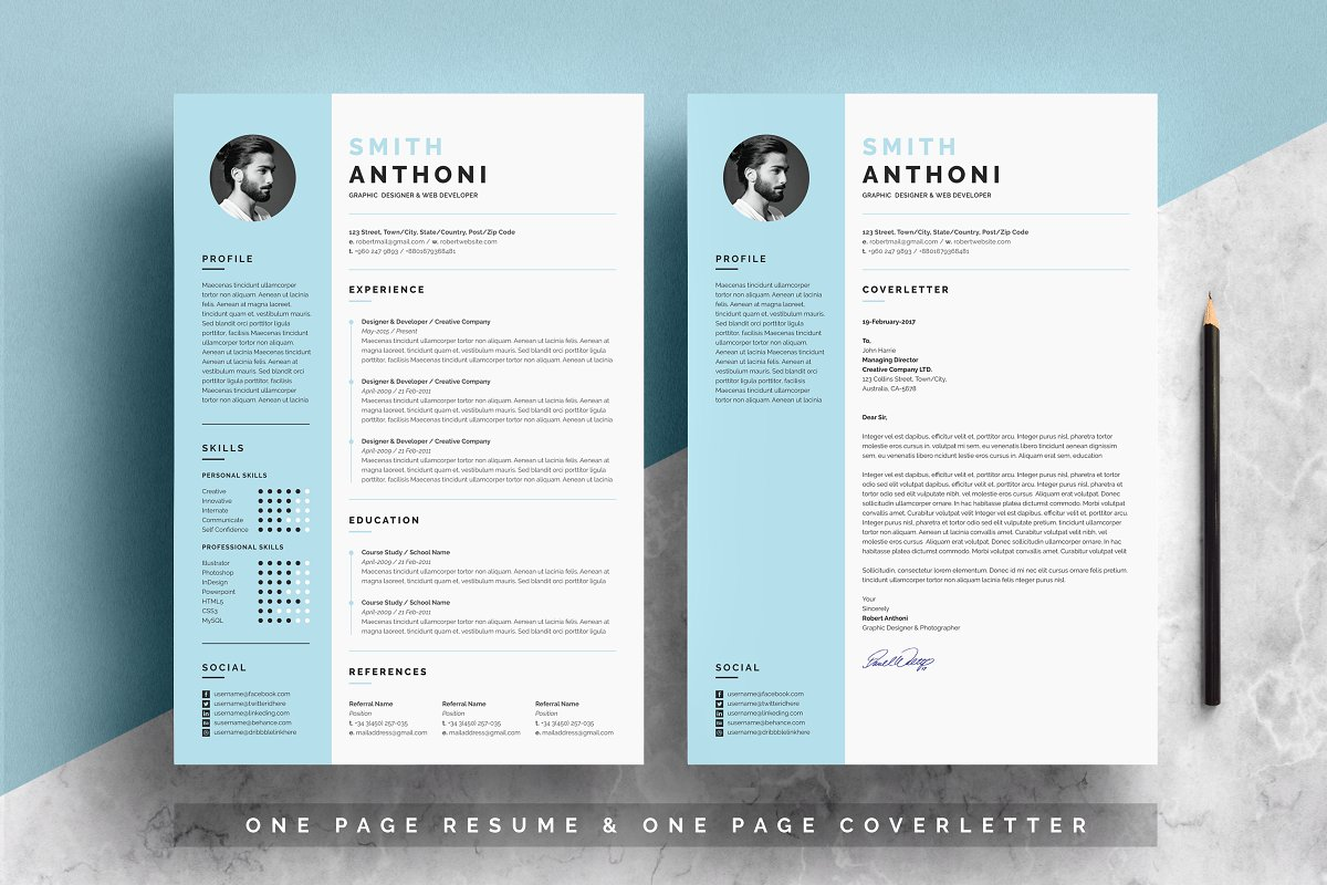 职场经典黑白简历模板Clean Resume 2 Pages