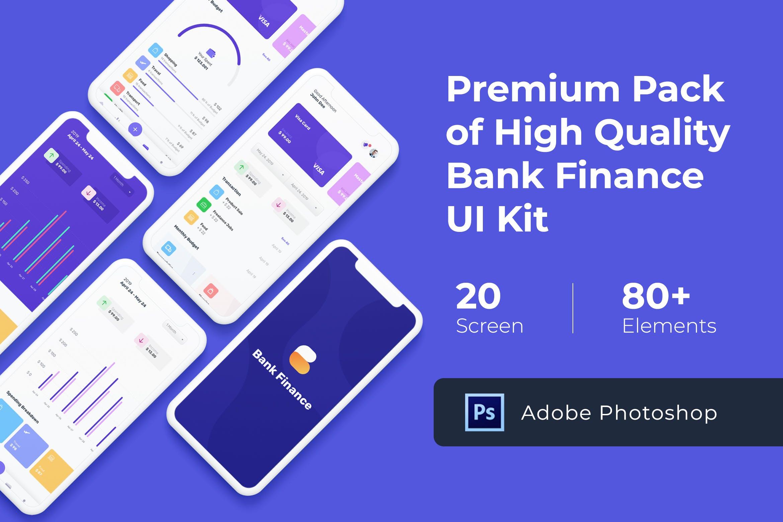精美的IOS风格银行金融行业APP Bank Finance UI KIT for Photoshop