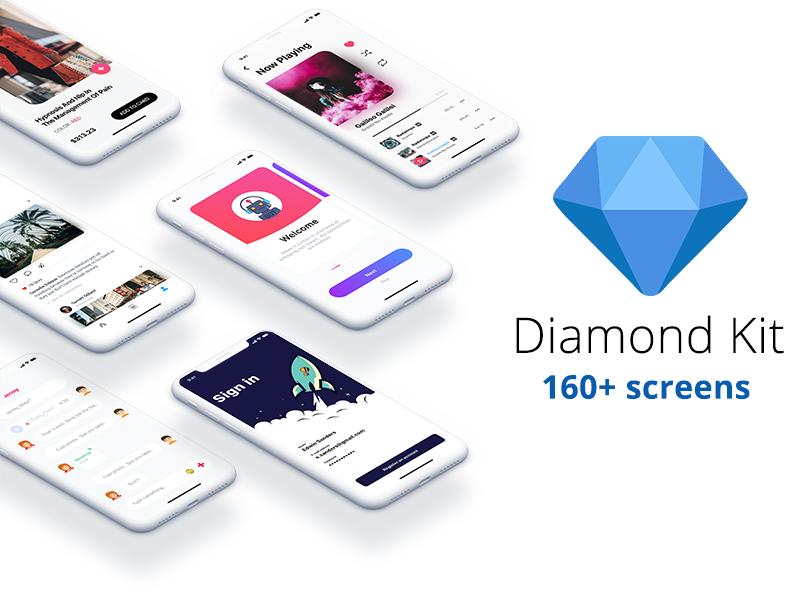 扁平化dribbble风格购物类UI套件Diamond Kit 160+ screens