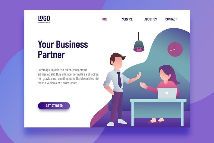 WEB端插画风格商务应用登录页 Business Partner - Landing Page