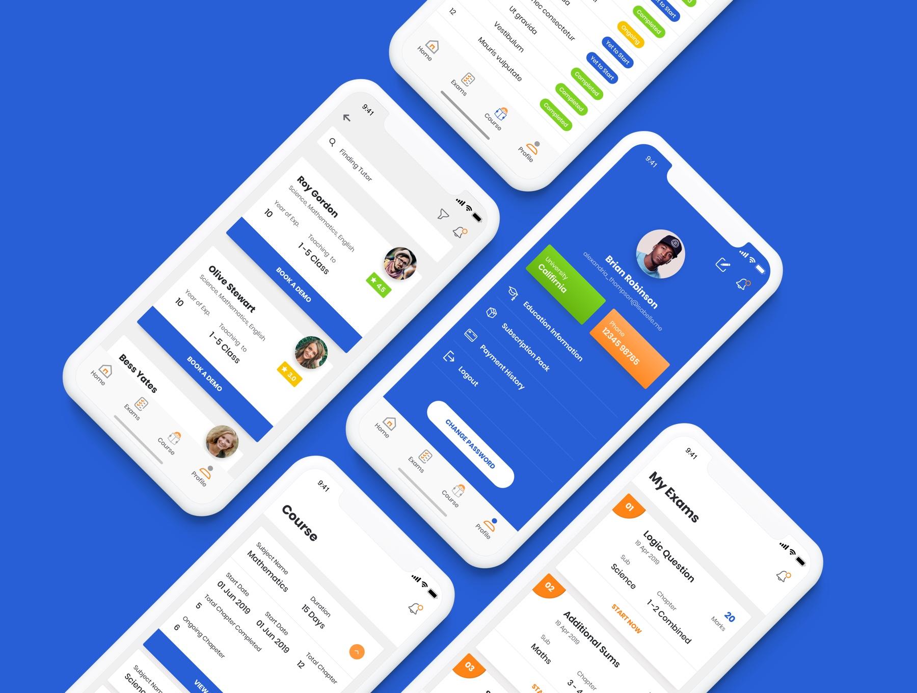 导师教育培训学习类APP UI工具包&UI界面 素材Tutor UI Kit