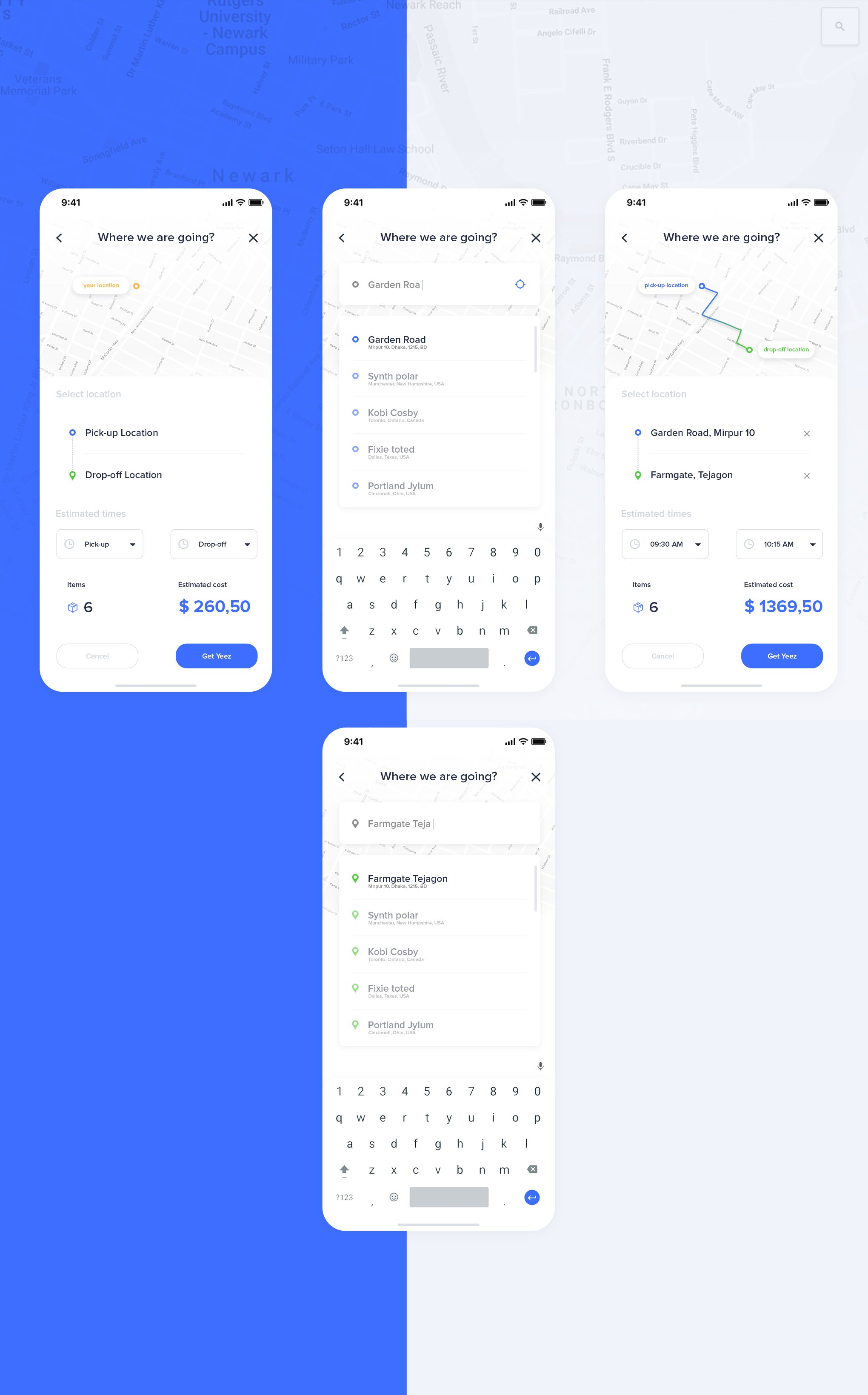 蓝色简约IOS11风格运输应用APP Transport app UI