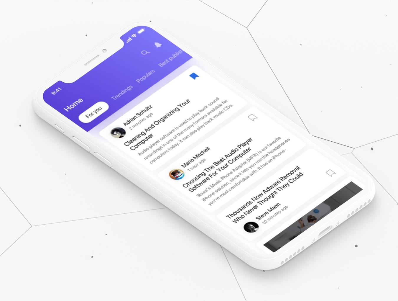 阅读类UI设计风格新闻行业APP News iOS UI Kit