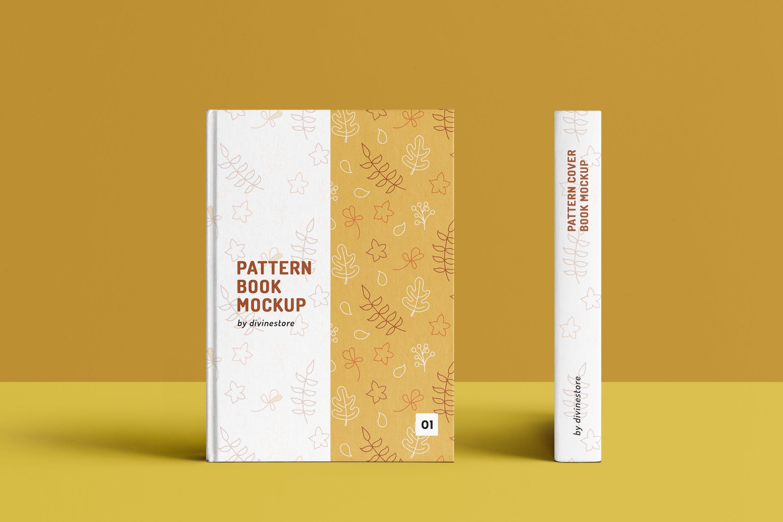 高端精装书籍封面封底样机展示Pattern Cover Book Mockup