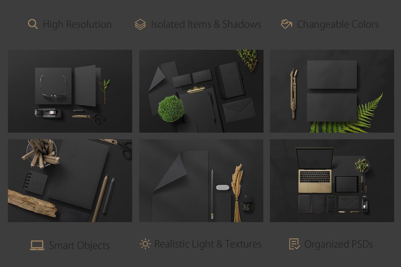 黑色精致品牌VI样机展示智能贴图Black Branding Mockups Vol.2