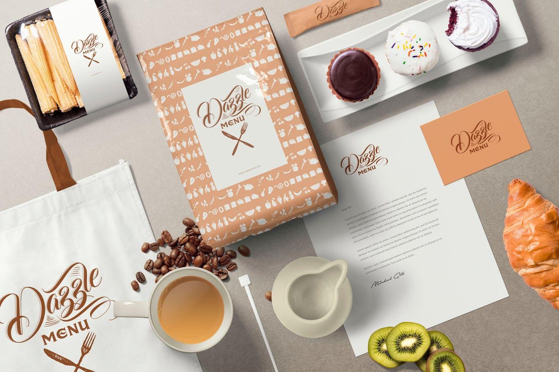 优雅的咖啡主题品牌标识LOGO标志设计样机场景VI样机展示模型