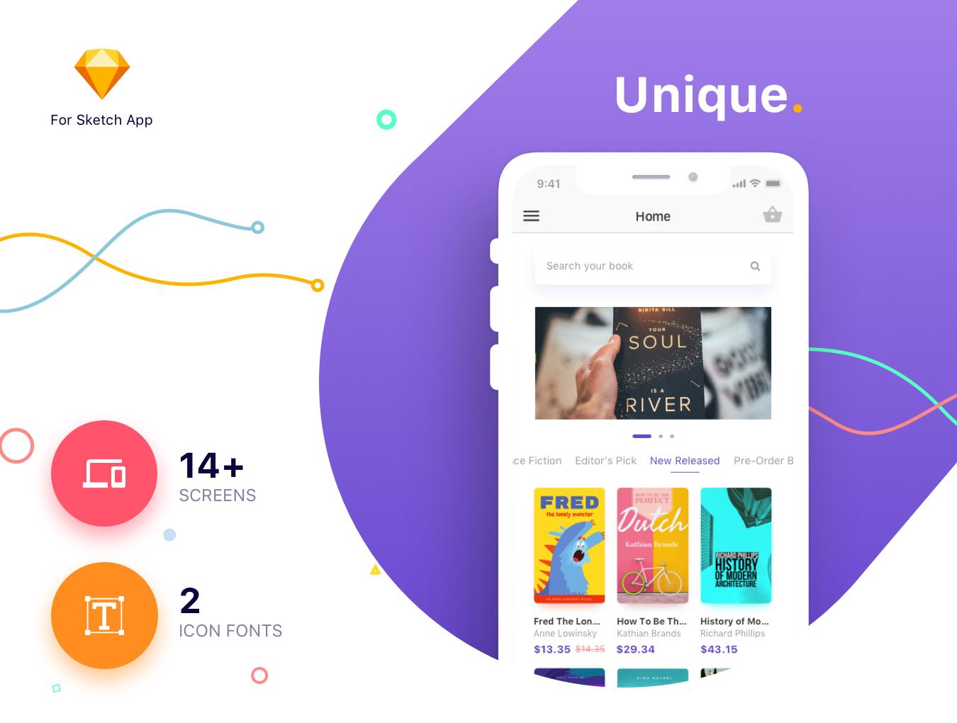时尚简约书籍阅读行业APP Bookly iOS UI Kit