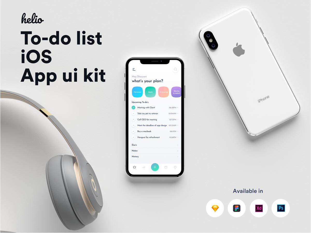 办公效率类APP IOS风格移动应用APP Helio To-do list IOS APP UI kit
