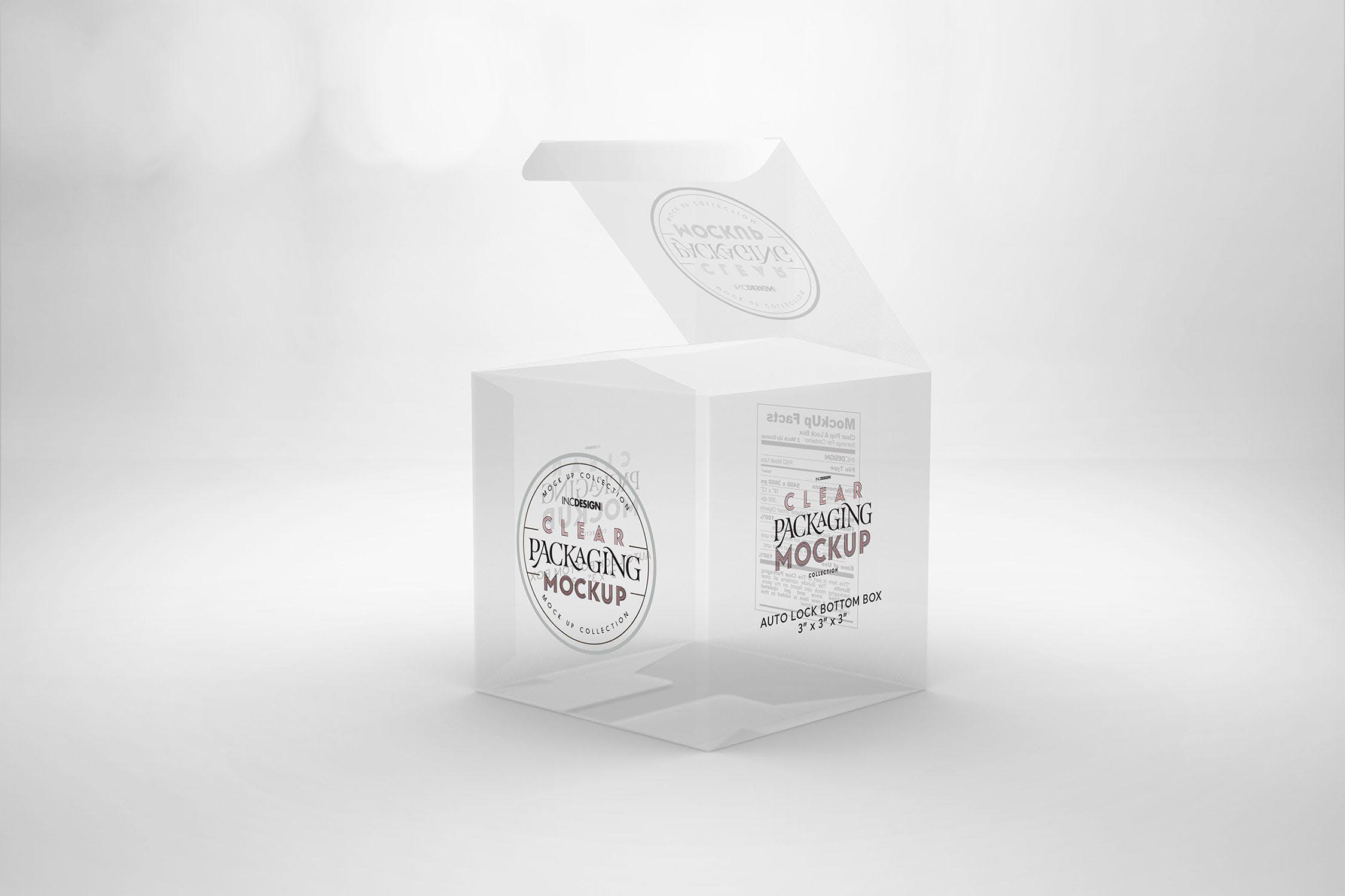 透明包装样机模板展示样机素材Clear Lock Bottom Boxes Packaging Mockup