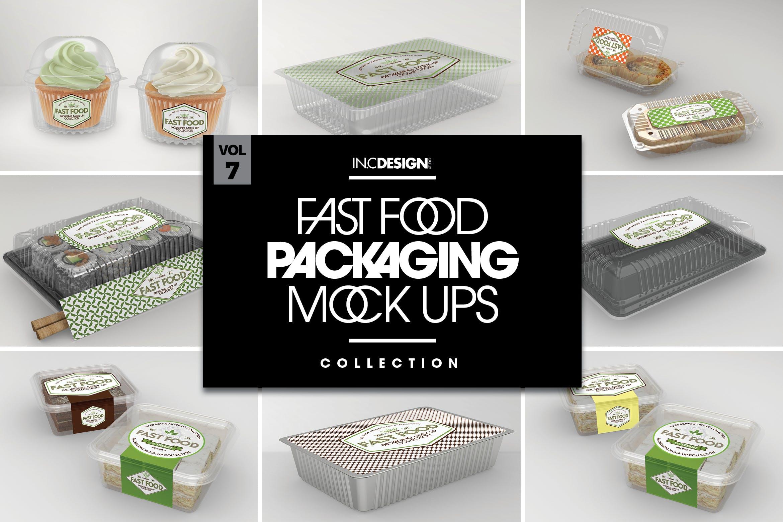 多品类快餐盒  甜点模板样机素材展示Fast Food Boxes Vol 7 Take Out Packaging Mockups插图