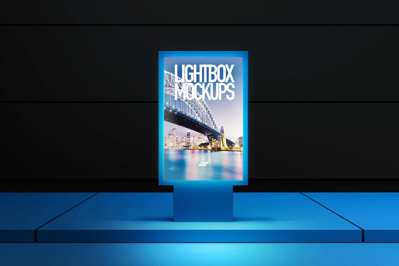 3D灯箱海报室外模拟样机素材模板展示3D Lightbox Poster Outdoor Mock-up