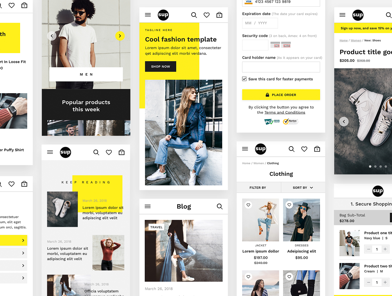 WEB端高品质时尚简约电子商务购物网站 SUP Fashion UI Kit