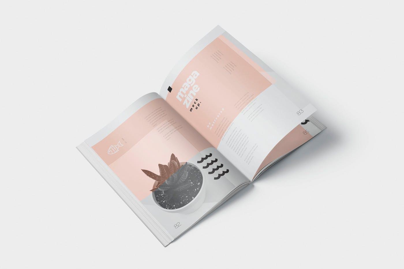 时尚杂志智能贴图样机素材  模板样机 Magazine Spread Mockups插图(2)