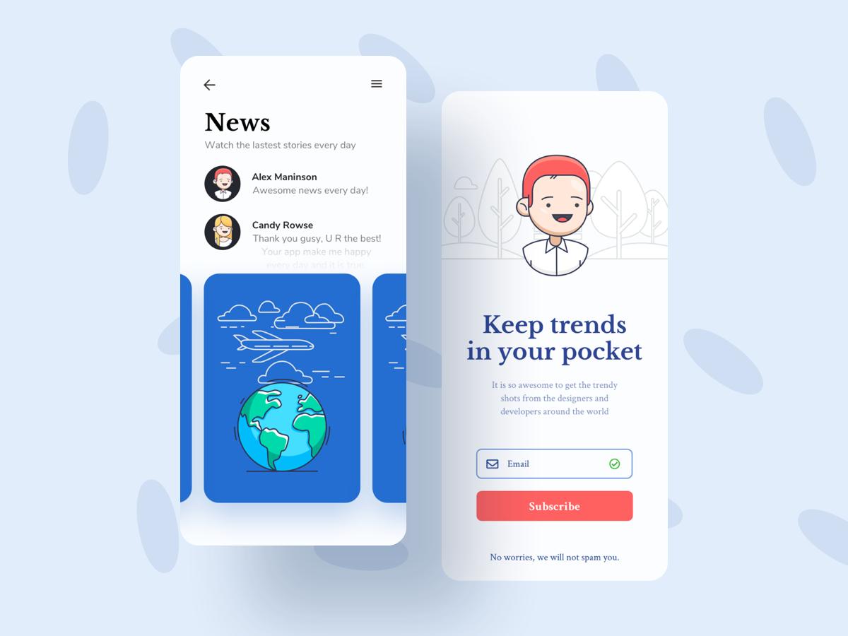 地球和人物插图引导页 移动端UI设计News