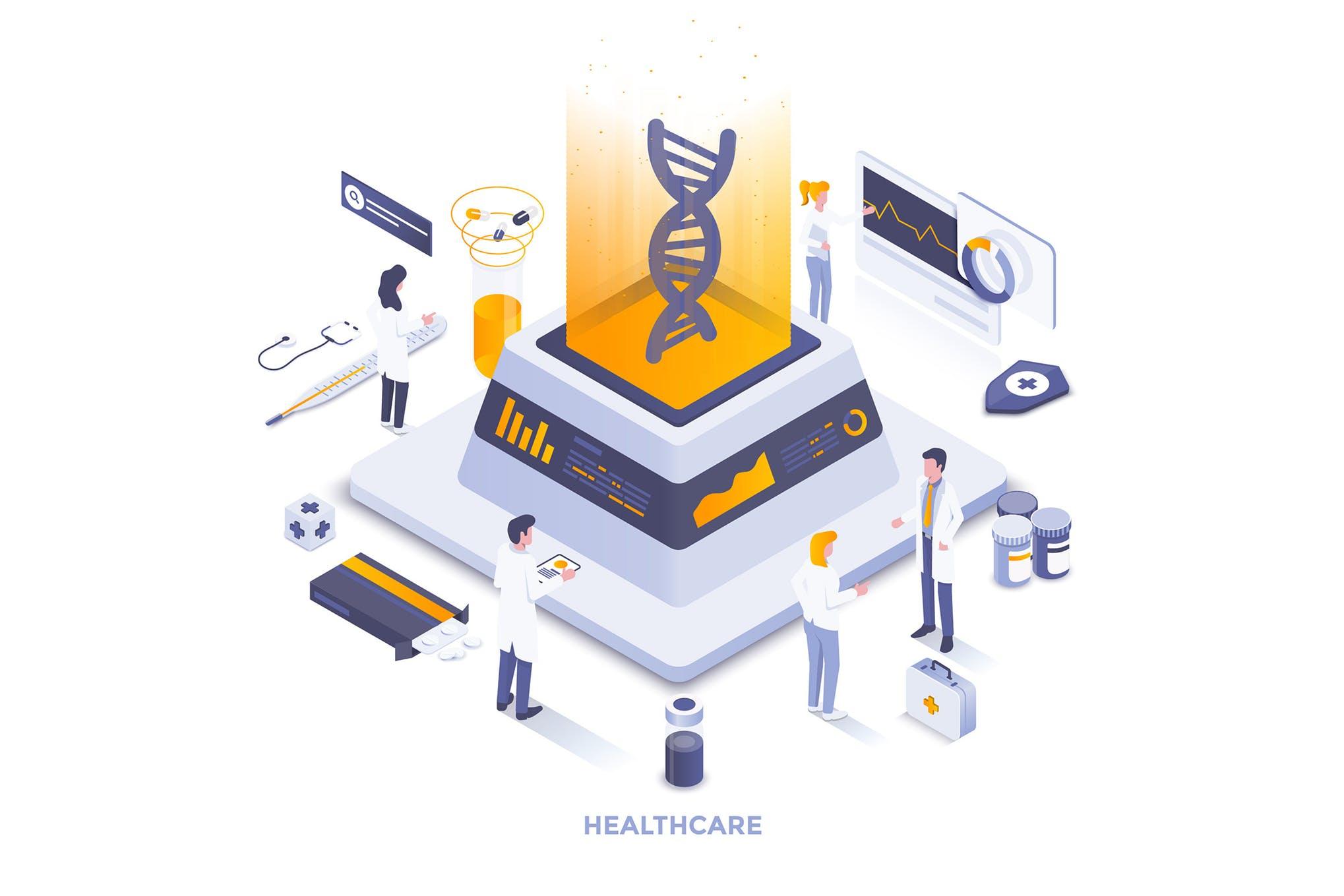 医疗保健场景插画素材2.5D插画下载Healthcare Concept