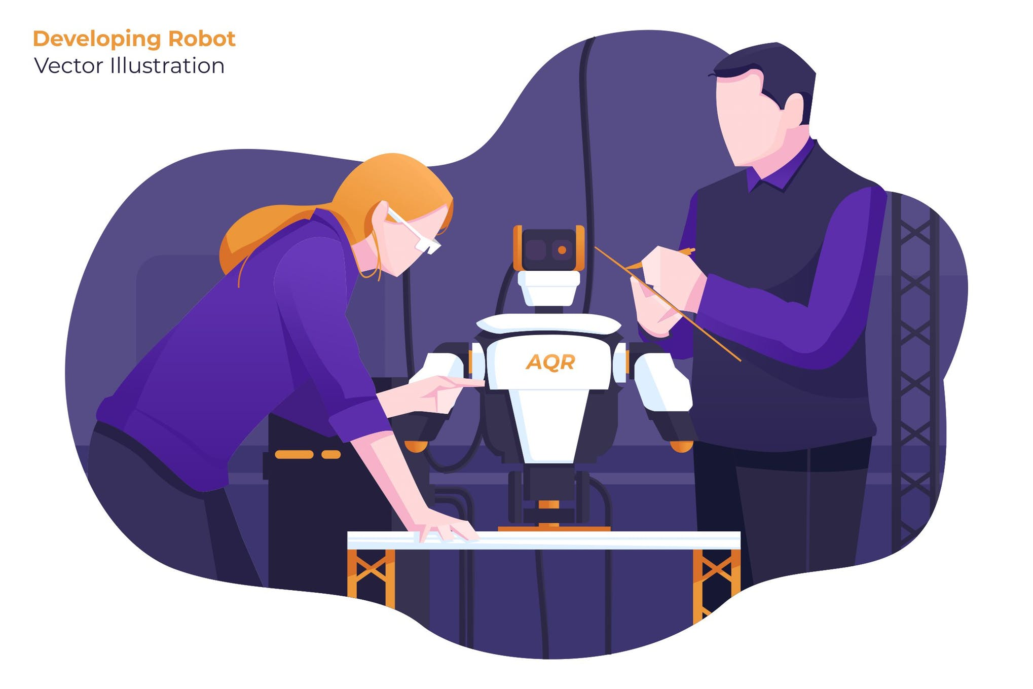 开发机器人创意场景插画素材模板下载Developing Robot - Vector Illustration