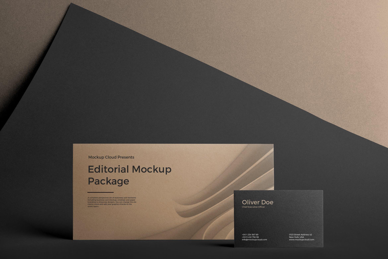 企业办公文具用品名片信封模板展示样机素材Stationery Mockup
