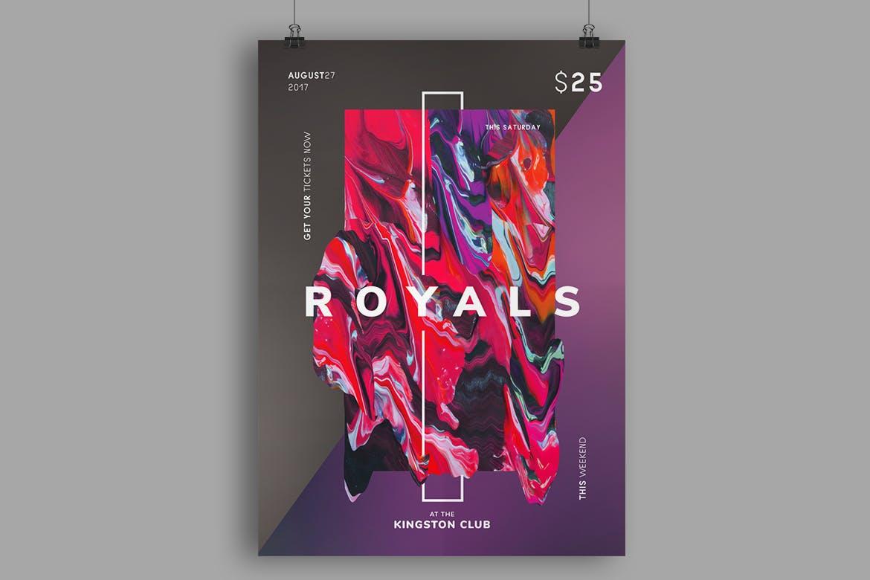 色彩肌理模板传单传单/海报模板Royals Flyer / Poster Template
