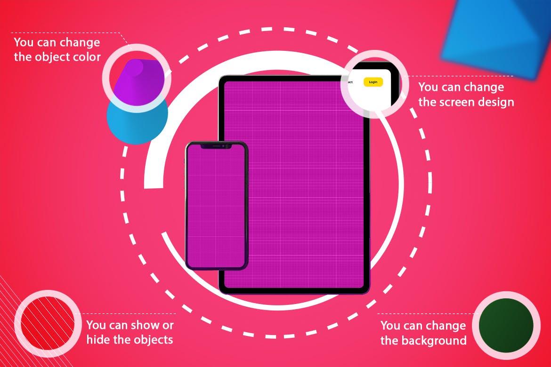 手机平板电脑样机素材模板展示Abstract iPhone XS & iPad Pro