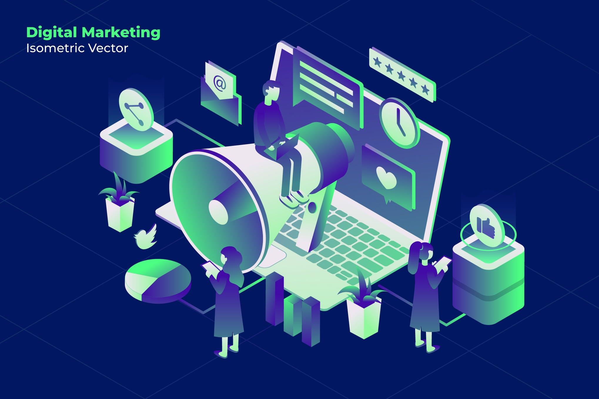在线营销2.5D插画创意设计方案Marketing Online - Vector Illustration