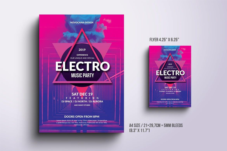 电子音乐派对海报和传单Electro Music Party Poster & Flyer