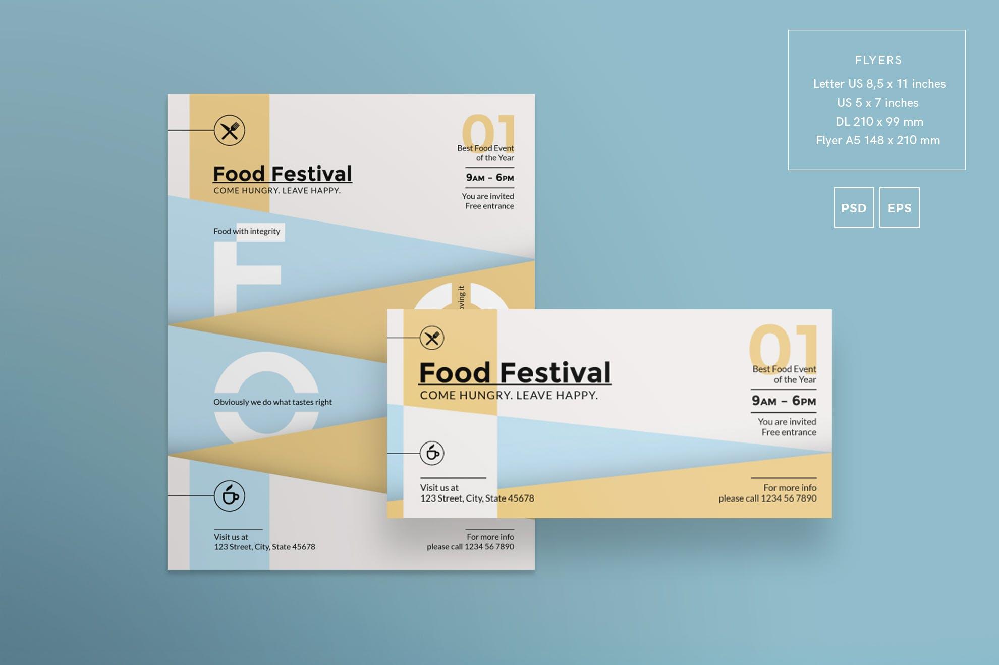 美食节传单和海报模板Food Festival Flyer and Poster Template插图(1)