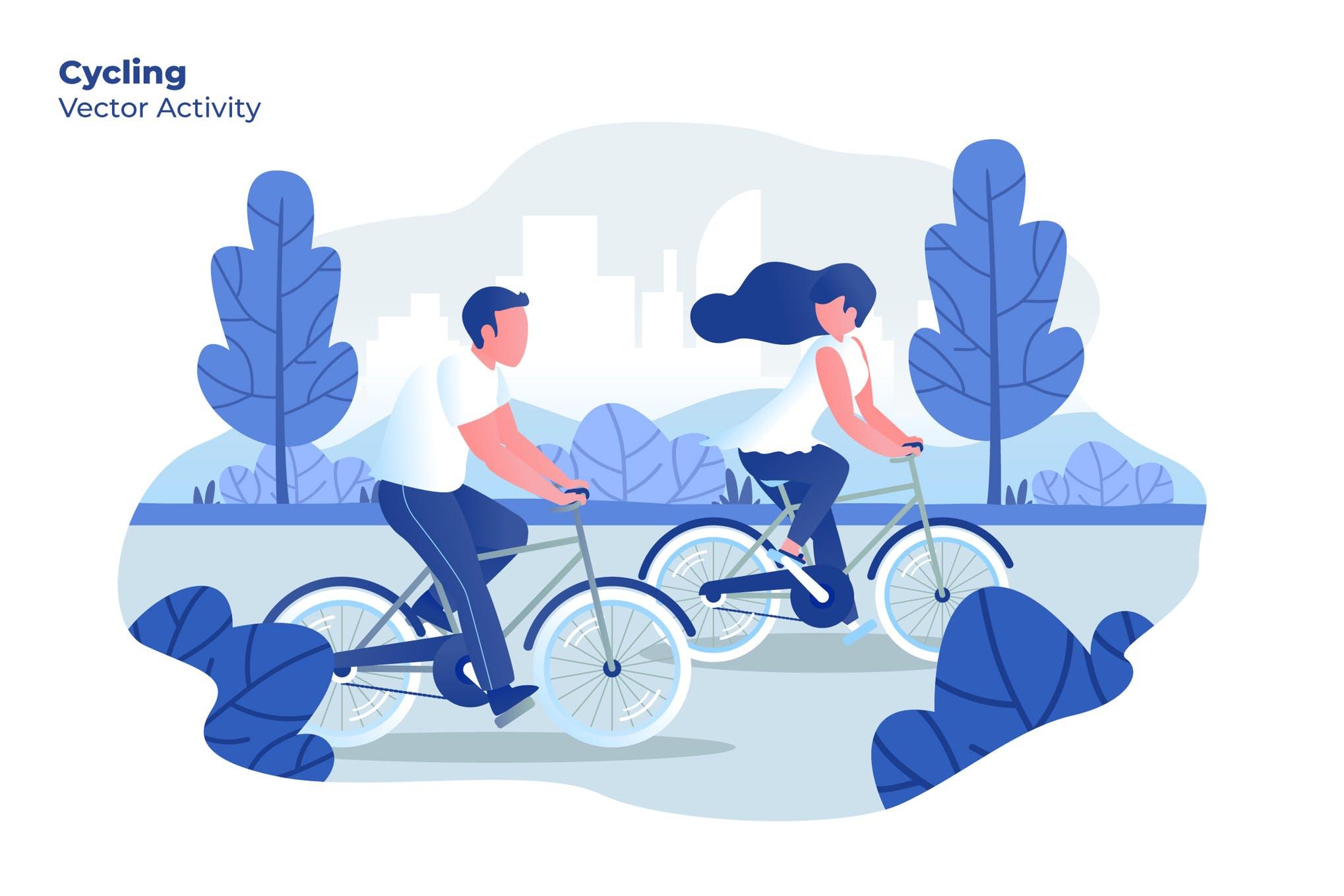 出行创意插画设计素材下载Cycling - Vector Illustration Rycxxg