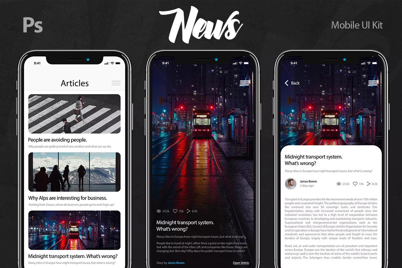 国外时尚IOS风格新闻移动UI工具包APP PSD模版 News Mobile UI Kit