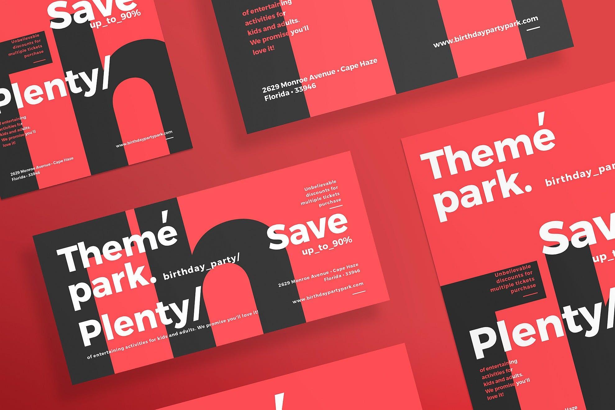 主题公园传单和海报模板Theme Park Flyer and Poster Template