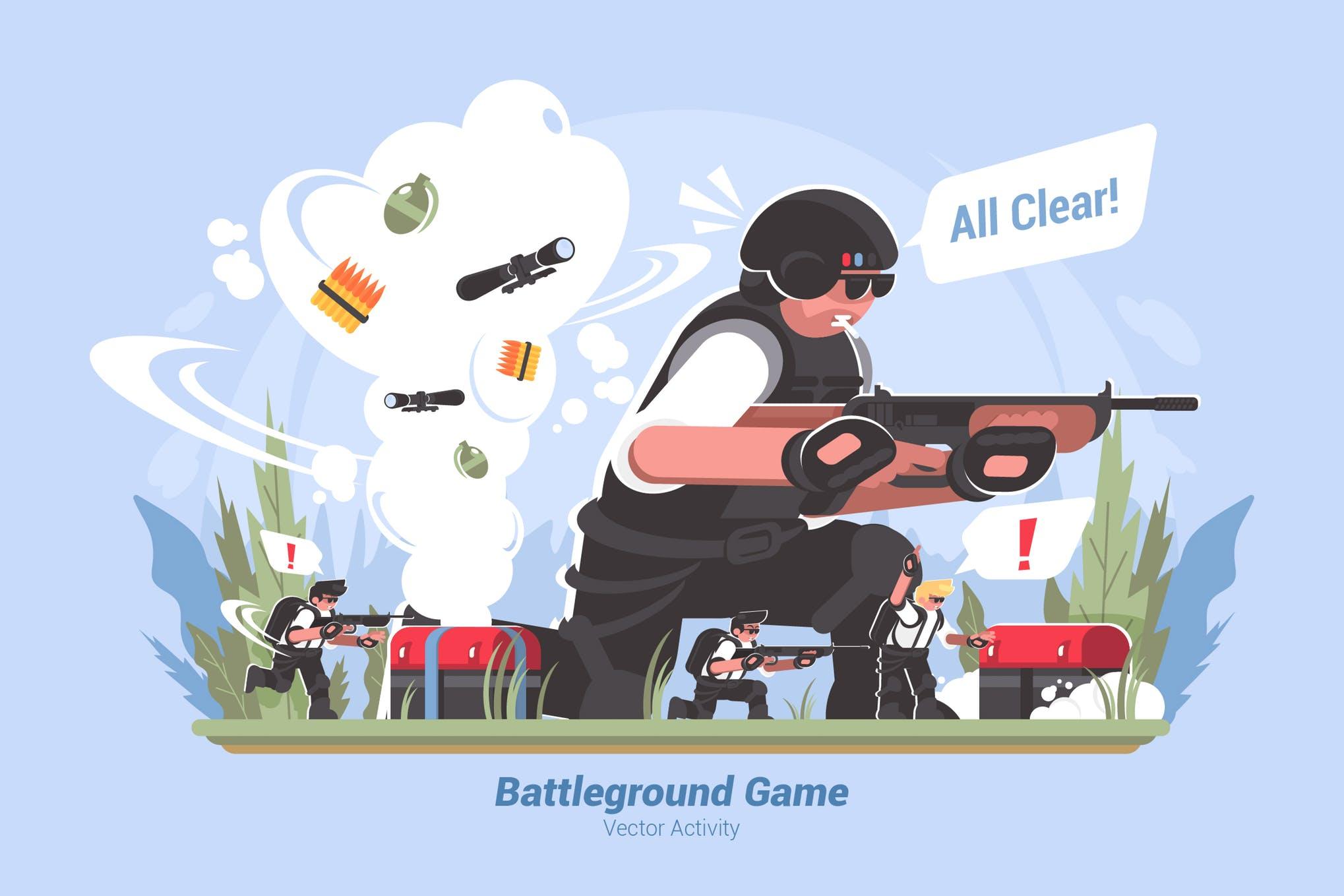 战场游戏创意场景插画素材下载Battleground Game- Vector Illustration