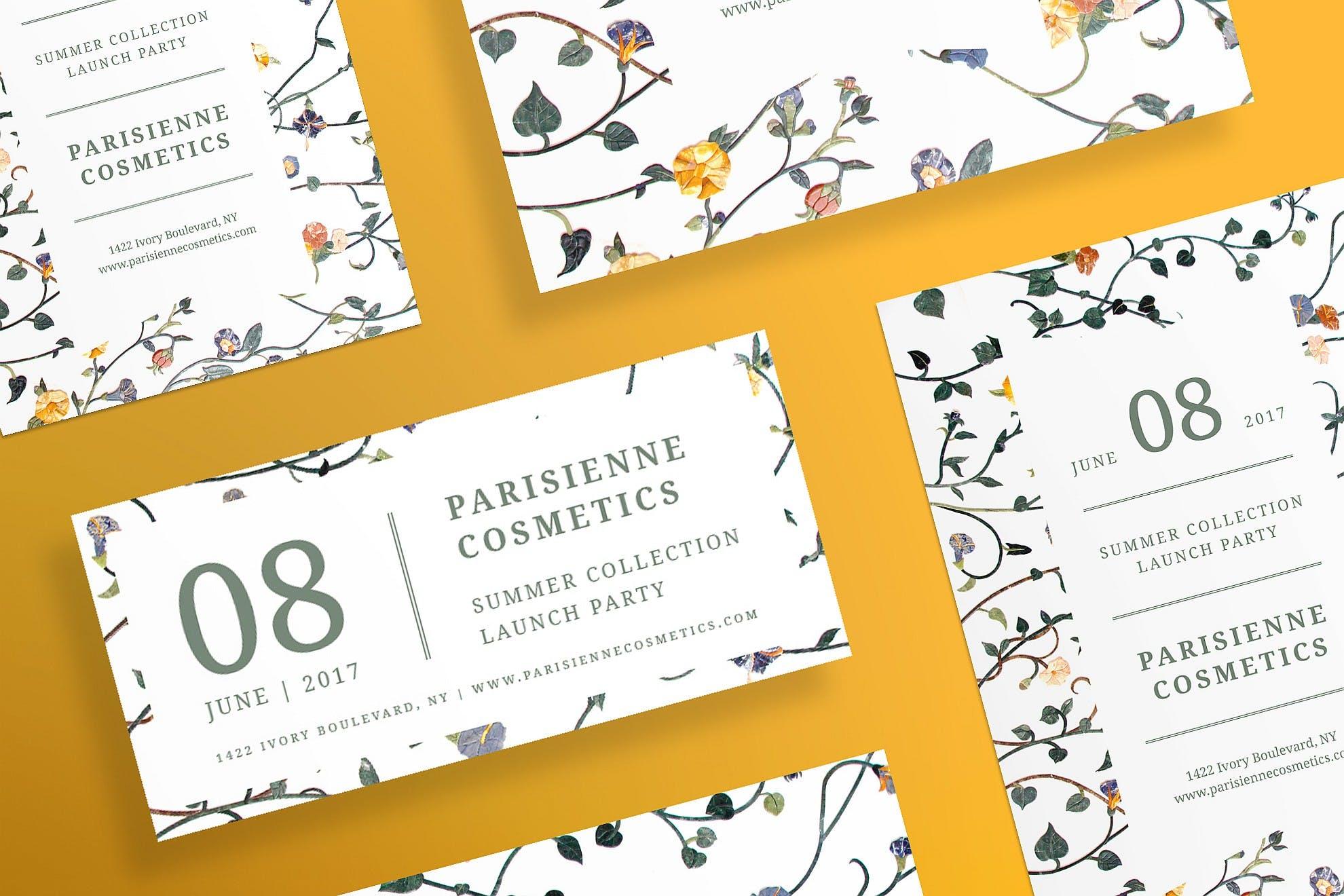花卉植物素材模板展示素材Cosmetics Brand Flyer and Poster Template