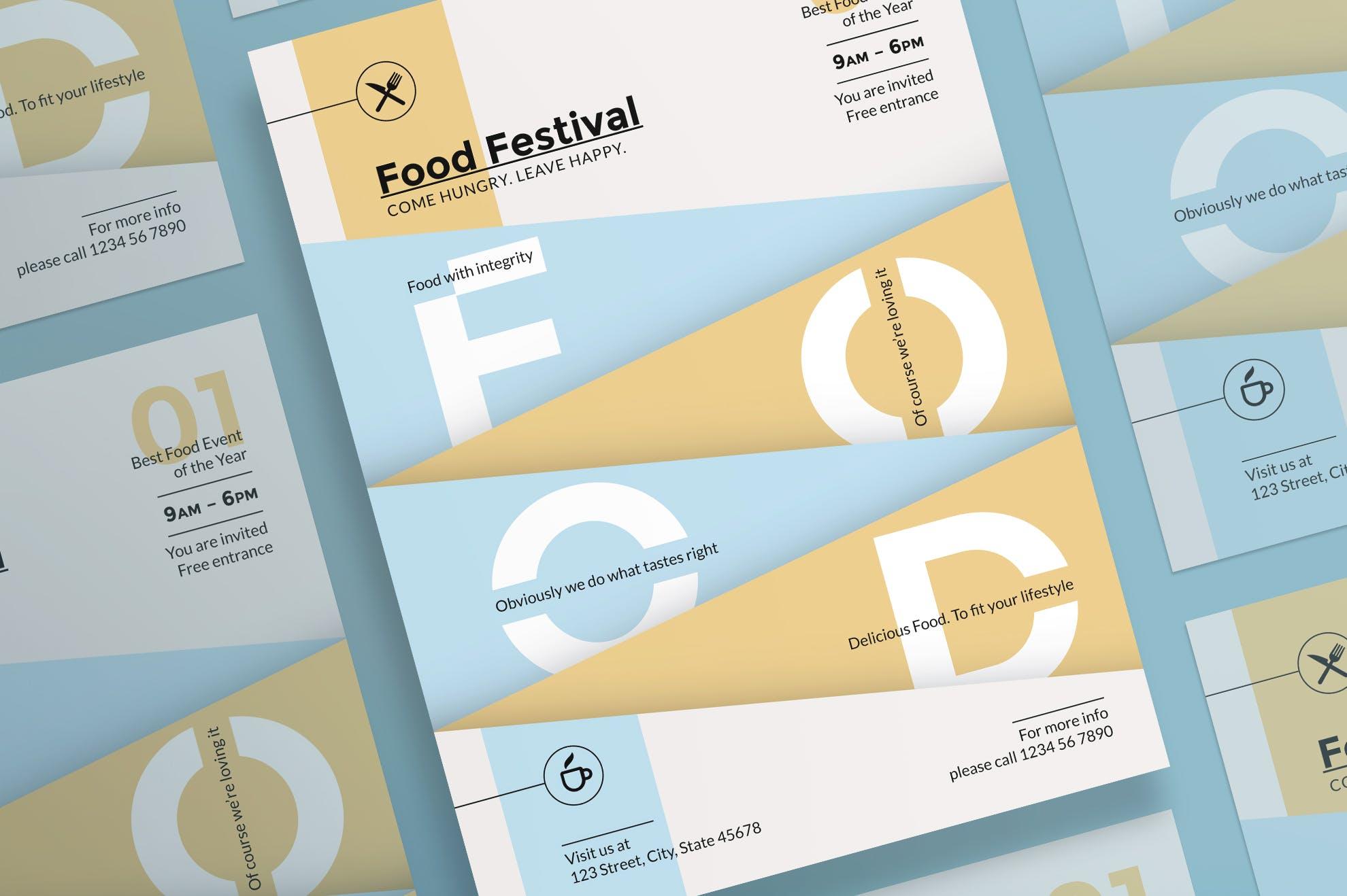 美食节传单和海报模板Food Festival Flyer and Poster Template插图(2)
