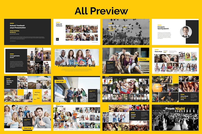 欧美学校年鉴PPT演示文稿 School Yearbook Powerpoint Presentation