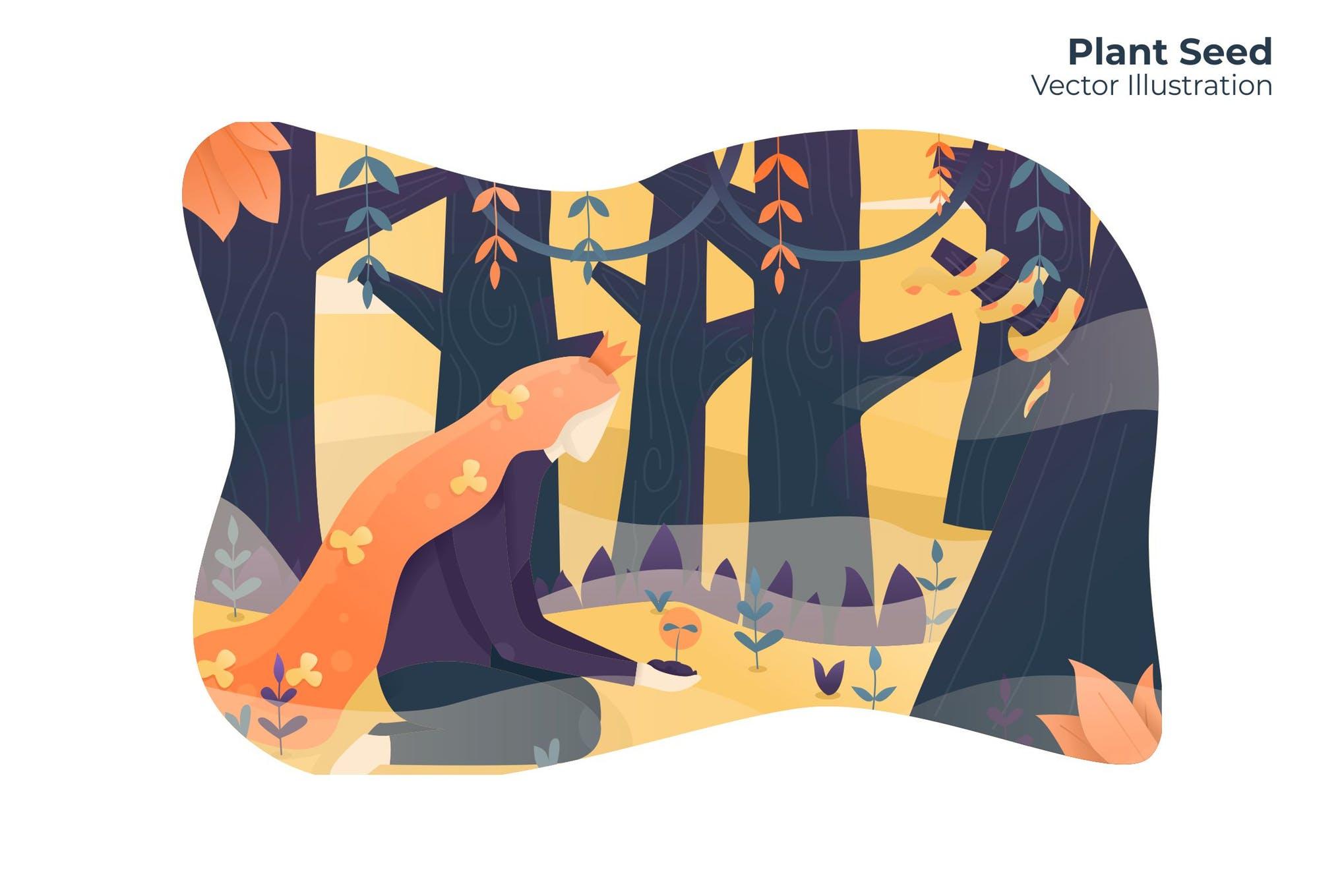 植物种子种植创意插画场景素材下载Plant Seed - Vector Illustration