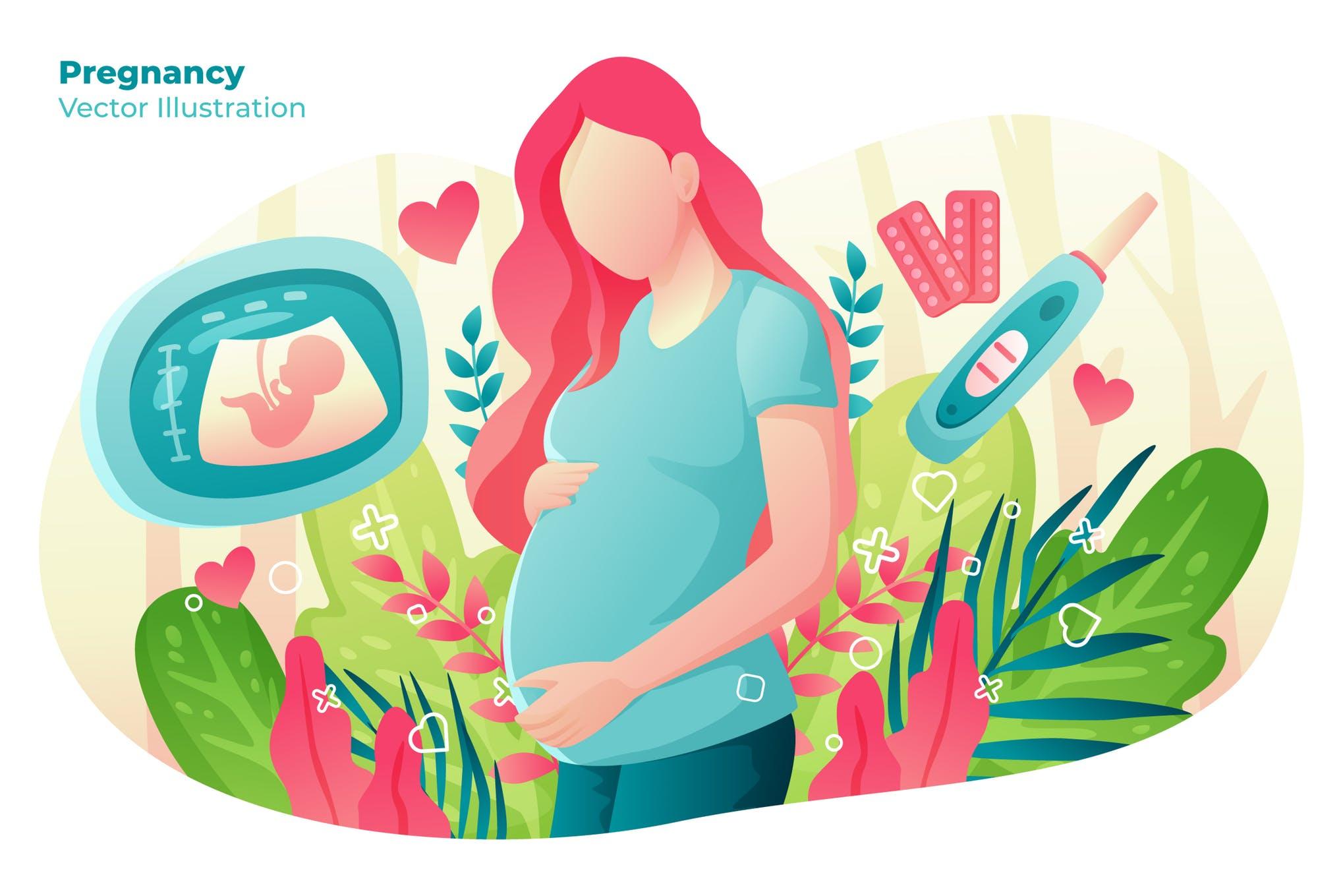 母婴孕育生命创意插画卡通素材下载Pregnancy - Vector Illustration