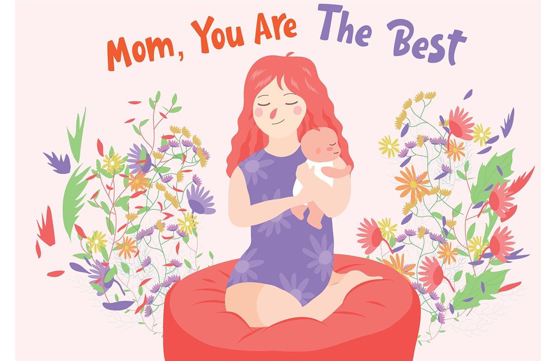 母婴插画场景素材下载Mom The Best - Vector Illustration