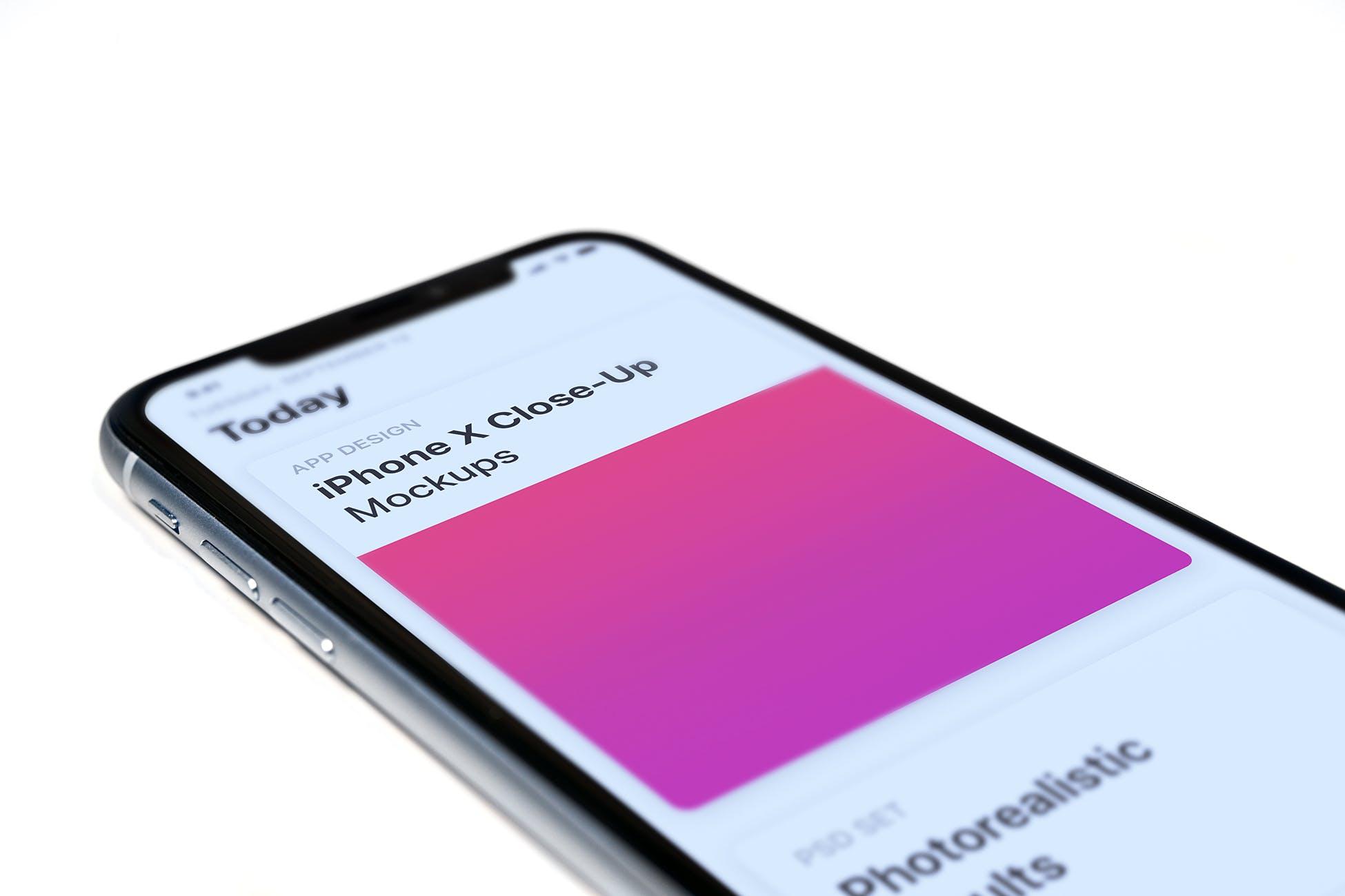 苹果手机写实模板素材展示样机iPhone App Mockup Close-Ups