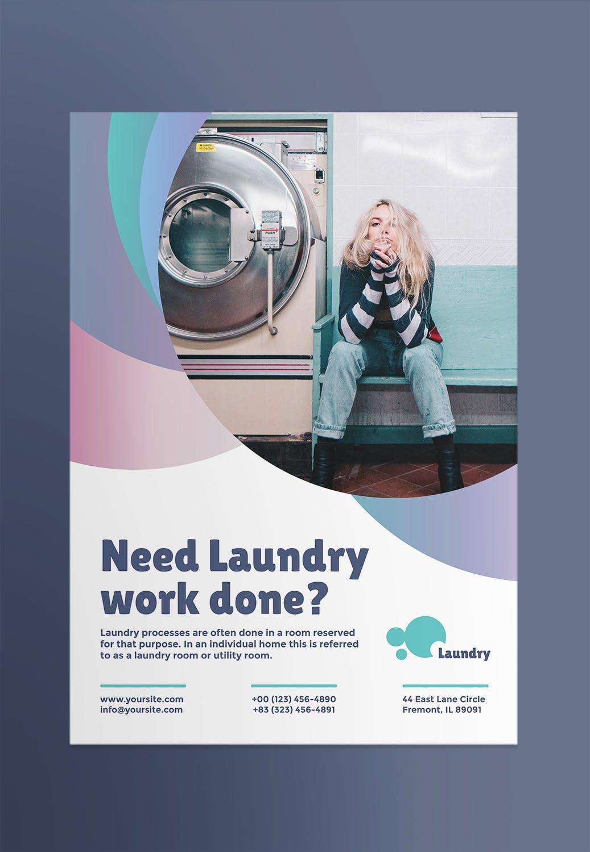 公益洗衣海报/传单模板素材Laundry Poster