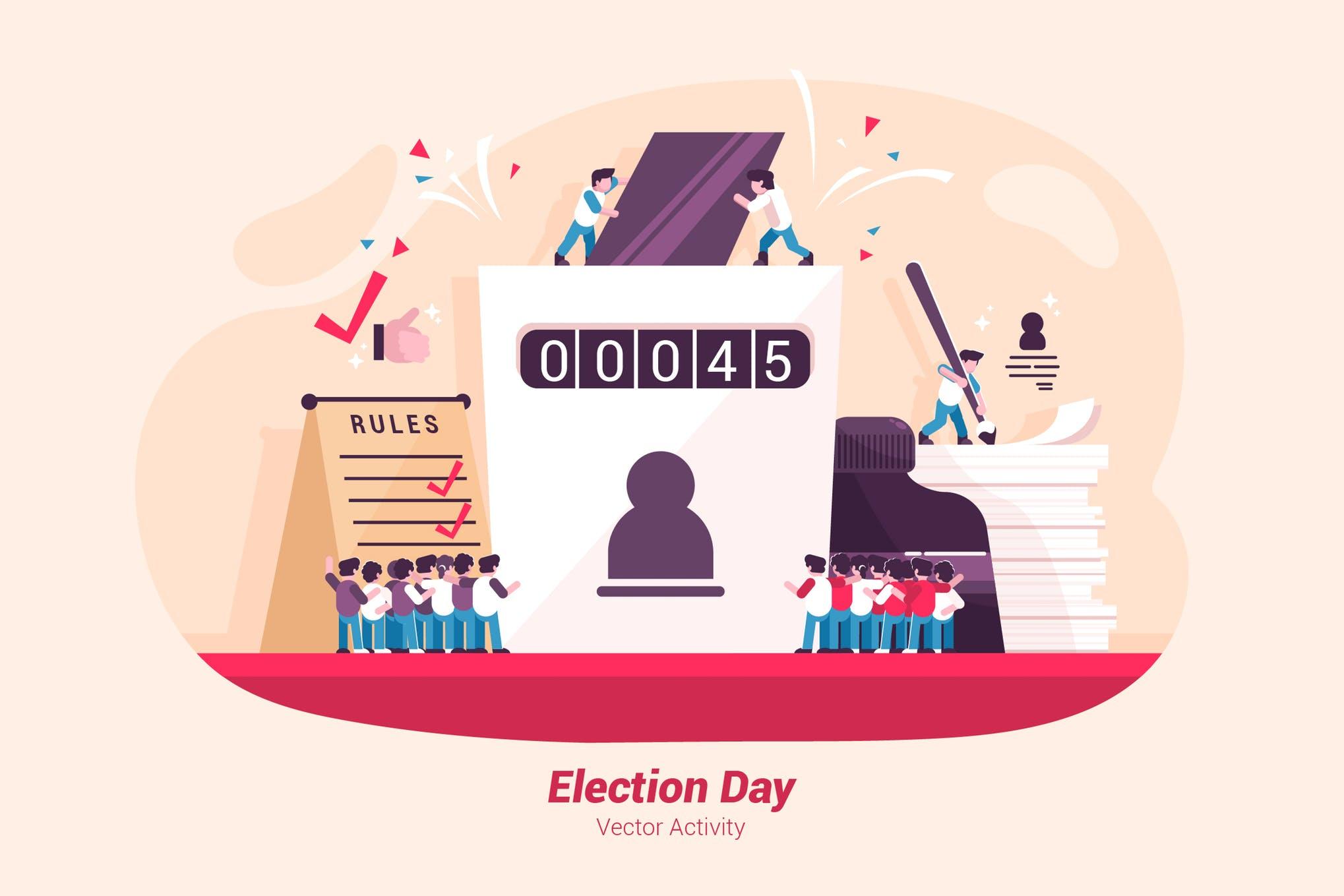 学习集会场景创意插画素材下载Election Day - Vector Illustration