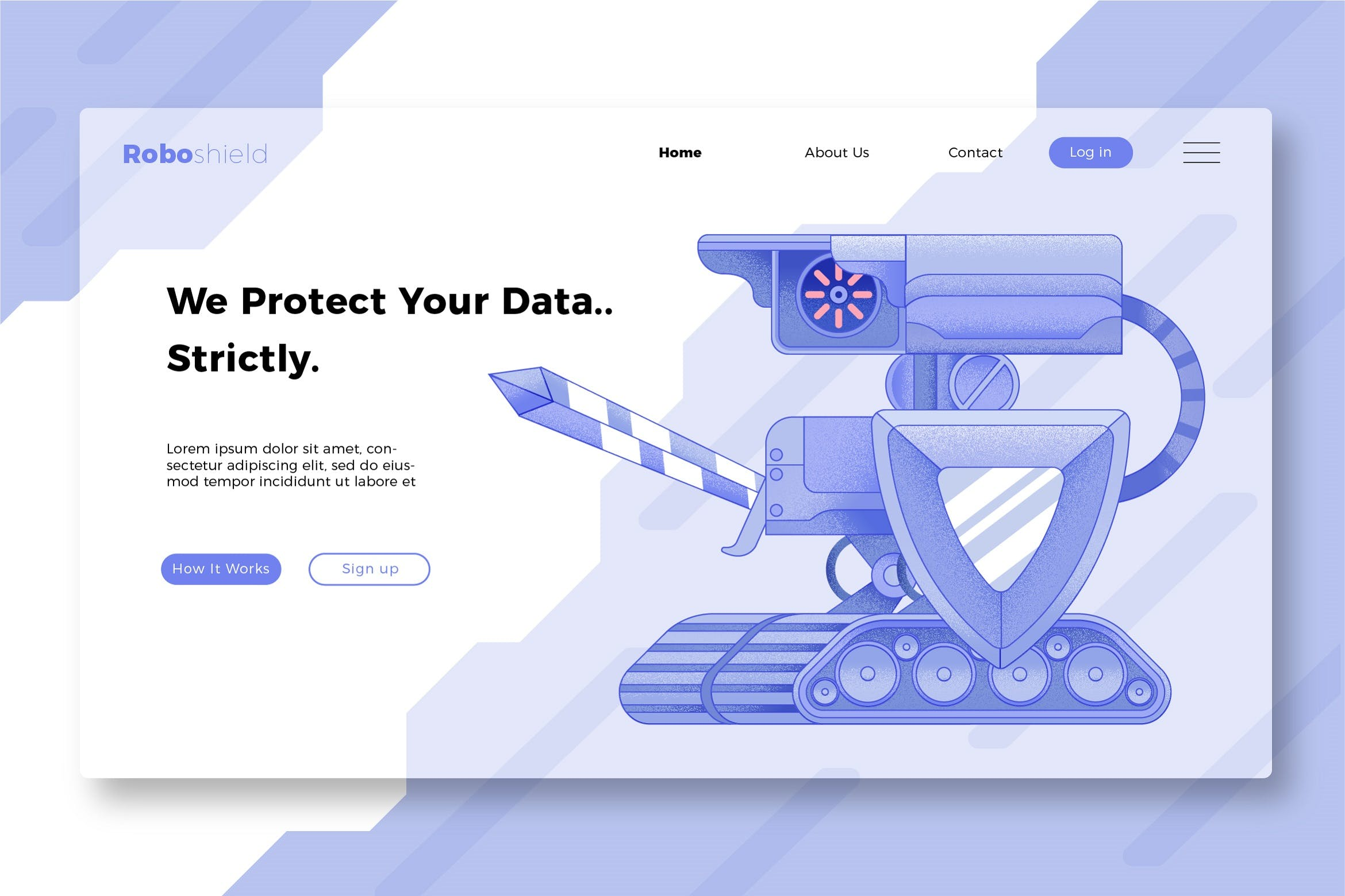 WEB端插画风格登录页 Security - Banner & Landing Page