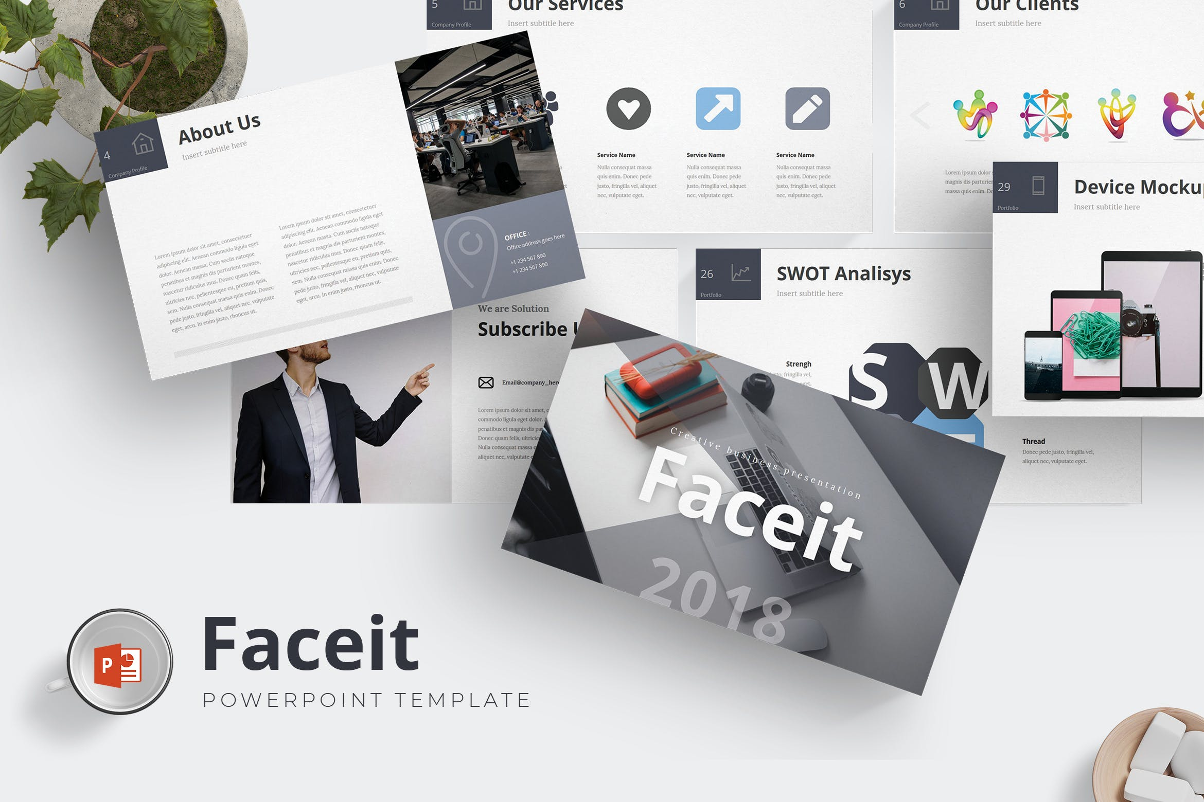 欧美现代时尚商务PPT模版 Faceit - Powerpoint Template