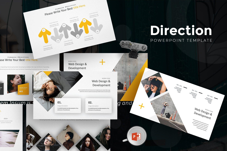 欧美现代时尚简约风格信息图表PPT模板 Direction - Powerpoint Template