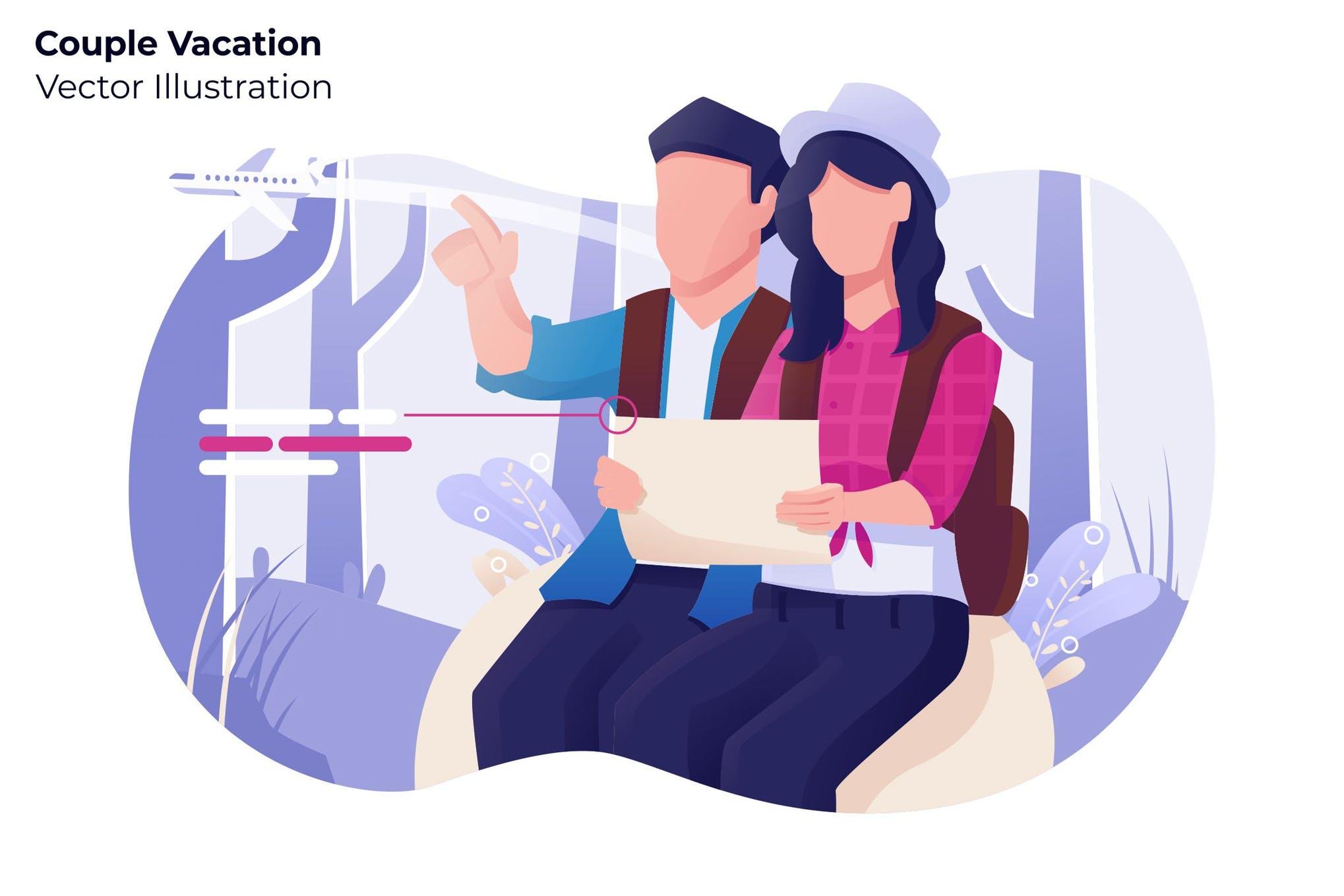 情侣度假系列场景素材下载Couple Vacation - Vector Illustration